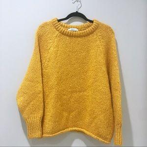 ZARA Chunky Knit Oversized Fuzzy Mustard Sweater